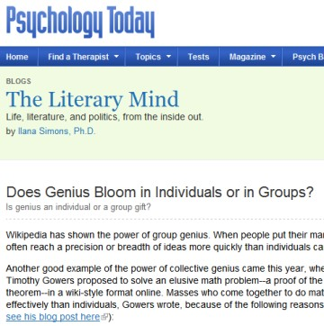 The Literary Mind blog on Psychology Today