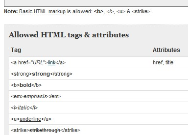 Allowed HTML tags